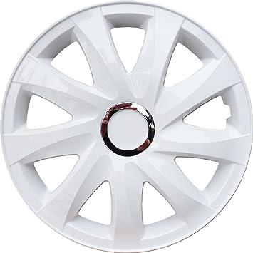 Tapacubos Blanco 15 pulgadas 1 Juego (4 unidades) con anillo cromado: Amazon.es: Coche y moto