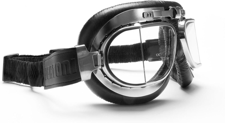 BERTONI Gafas de Moto Lentes Antivaho y Antichoque - Perfil de Acero Cromado - Italy AF193CR Negro - Gafas Vintage Aviador para Cascos Moto Harley y Chopper