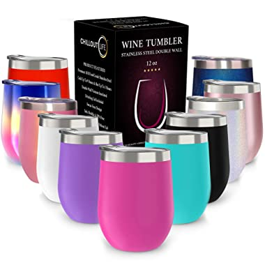 CHILLOUT LIFE 12 oz Stainless Steel Tumbler with Lid & Gift Box | Wine Tumbler Double Wall Vacuum Insulated Travel Tumbler Cup for Coffee, Wine, Cocktails, Ice Cream, Powder Coated Tumbler