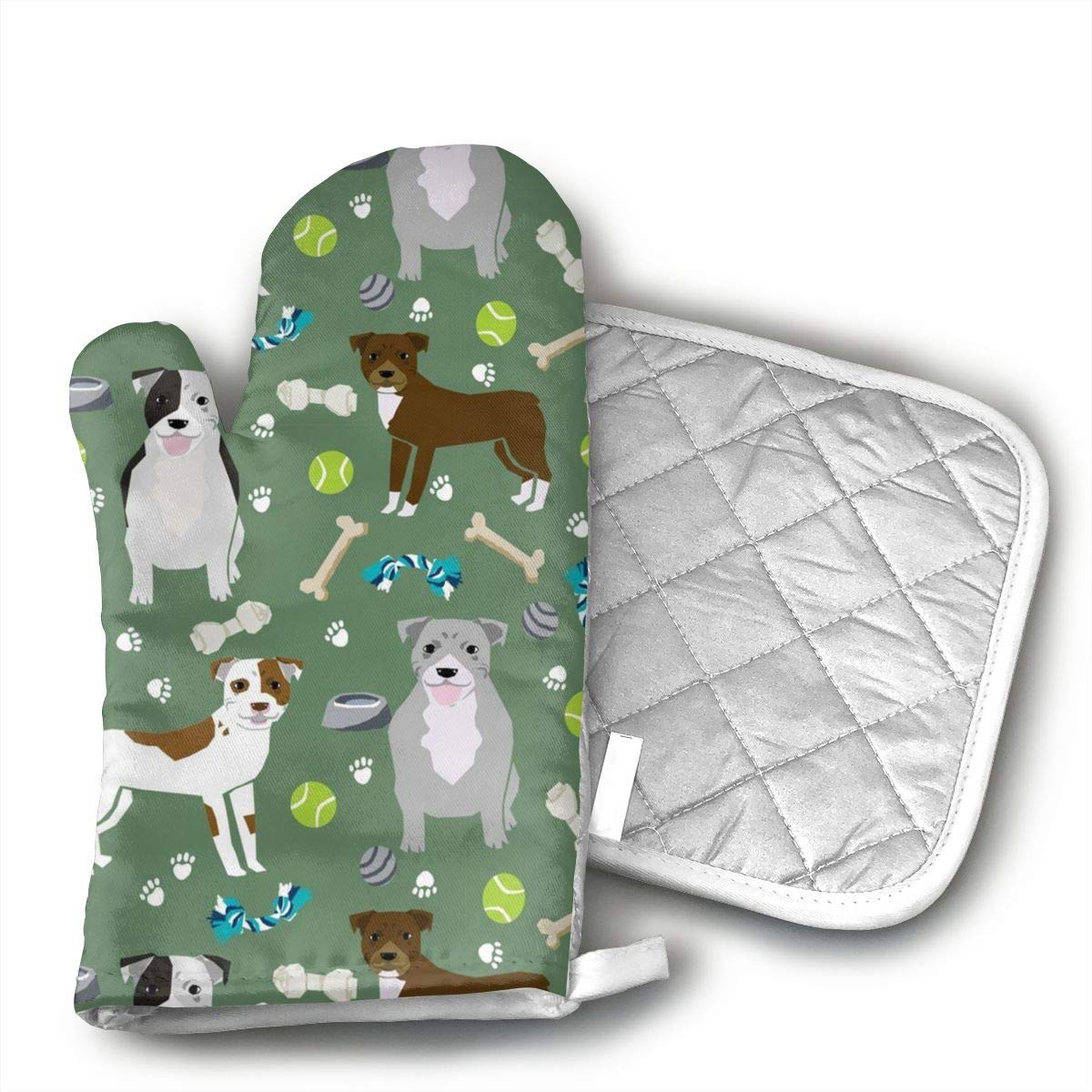 Wiqo9 Dogs and Dog Toys Pitbulls Oven Mitts and Pot Holders Kitchen Mitten Cooking Gloves,Cooking, Baking, BBQ.