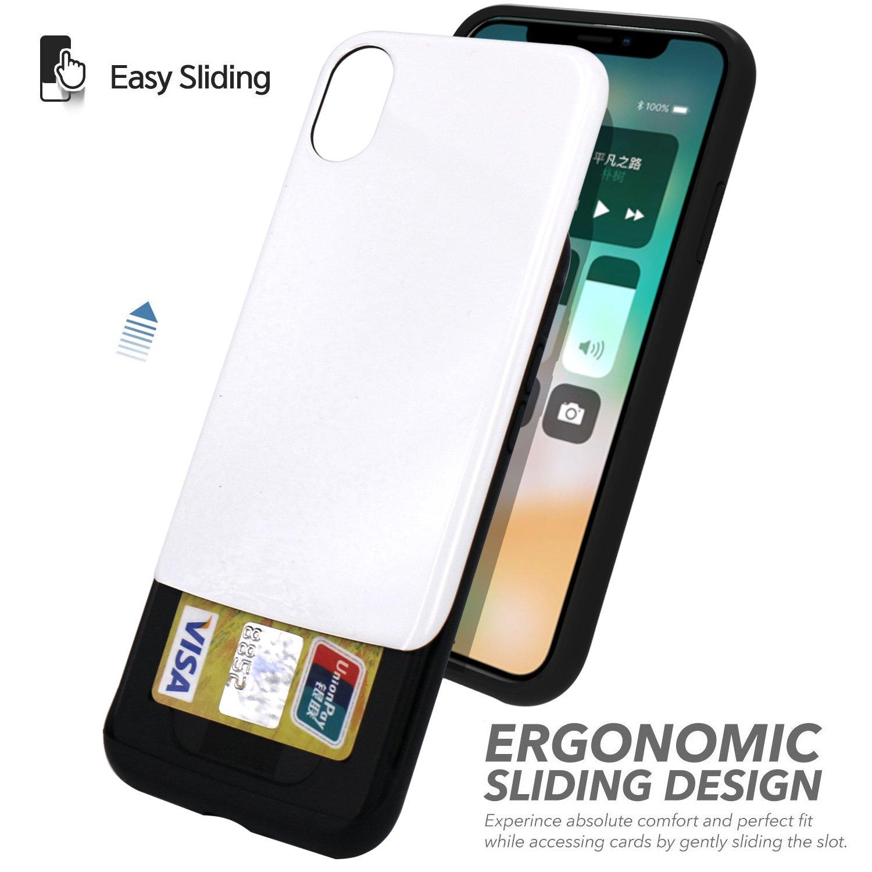Iphone X Case Jaholan Slider Sliding Card Holder Xr Spigen Anti Shock With Slot Slim Armor Cs Casing Black Extreme Heavy Duty Dual Layer Bumper Protection Absorption Shockproof Wallet