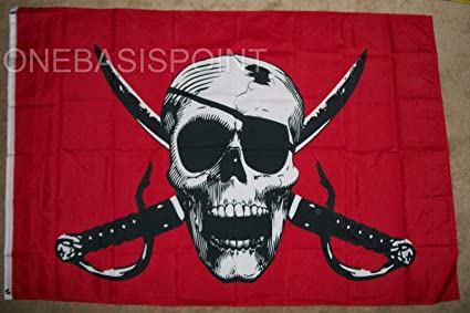 Red Bandana Pirate Flag Ship Banner Jolly Roger Pennant Sign Large 4x6 Foot Home & Garden Yard, Garden & Outdoor Living