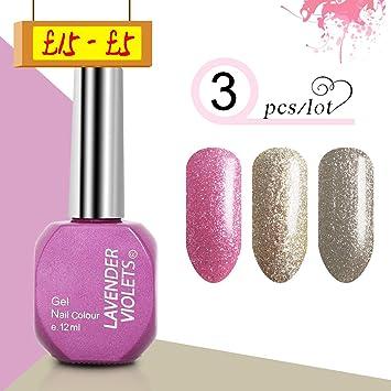 12ml Uv Led Gel Nail Polish 3pcs Set Platinum Glitter Range Lavender