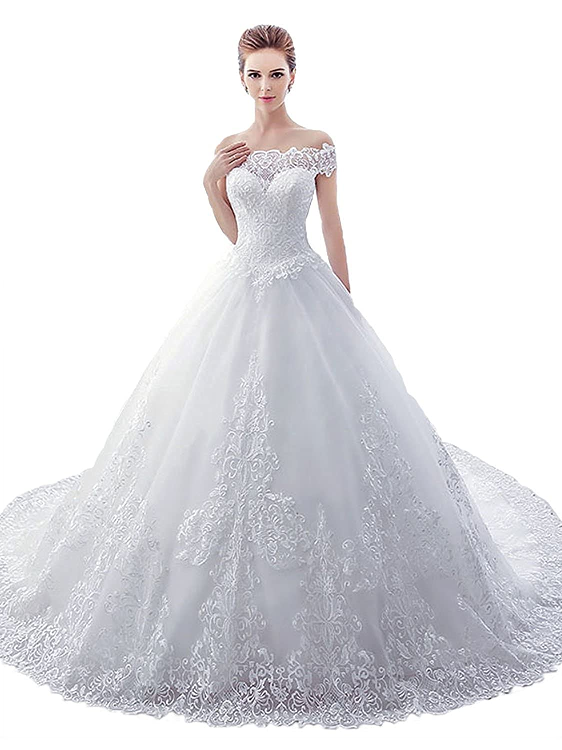 1e44ed002ba Babygirls Wedding Dress With Train Lace Tulle Applique Ball Gown Off  Shoulder For Bride Bridal Gowns at Amazon Women s Clothing store