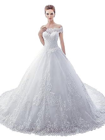 Tianshikeer Prinzessin Spitze Brautkleider Tull Hochzeitskleider