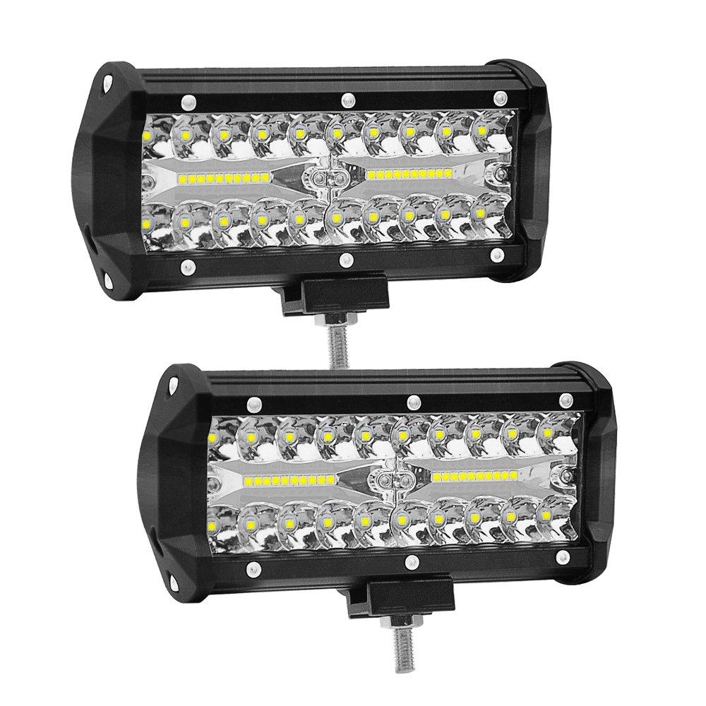 7 Zoll 120W LED Auto Arbeitsscheinwerfer WANYI 12000LM 6000K Zusatzscheinwerfer Arbeitsleuchten Led 12V/24V IP68 Wasserdicht Zusatzscheinwerfer Spot Flood COMBO Fog lights (2 Stü ck)