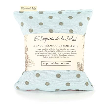Saco Térmico de Semillas aroma Lavanda, Azahar o Romero tejido Azul Lunares (Azahar, 23 cm)