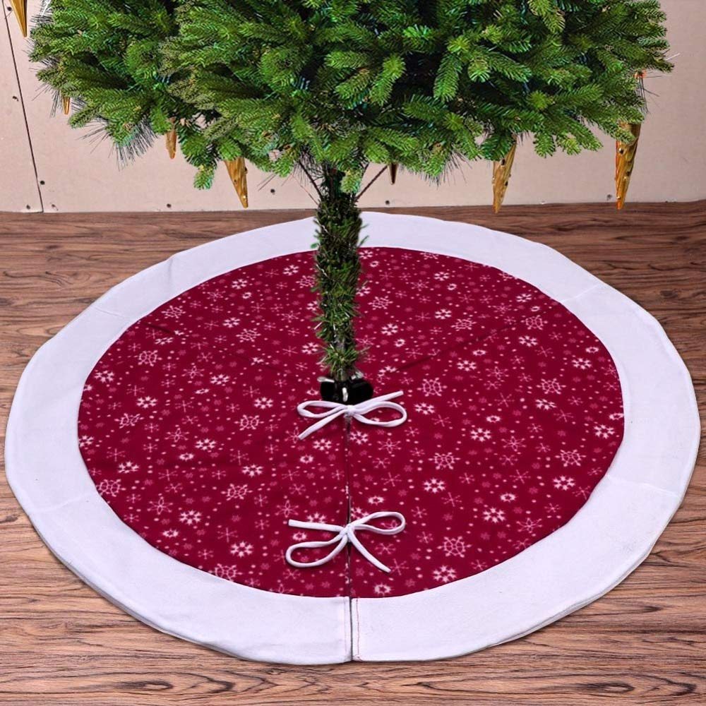 Christmas Tree Skirts 48 inch-Christmas Tree Skirts Velvet-Burgundy Traditional Red and White Snowflakes Christmas Tree Skirt-Christmas Tree Skirt Mat for Christmas Holiday Party Decoration (2) by Sky-Town (Image #4)