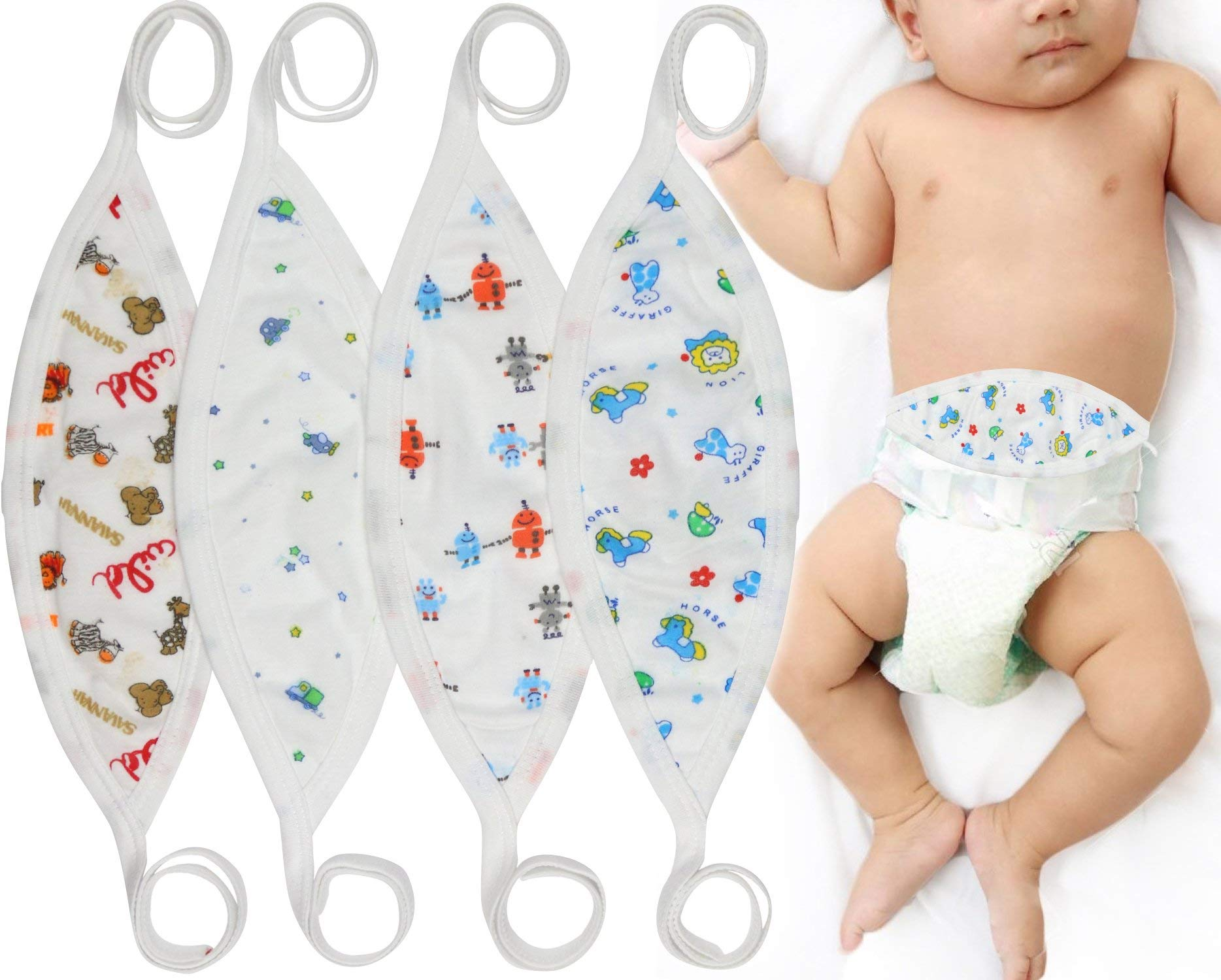 Random Color Liitrton 4 PCS Cartoon Pattern Cotton Baby Infant Umbilical Cord Belly Band for 0-12 months