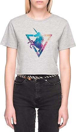 Galaxia Unicornio Gris Camiseta de Crop Mujer Manga Corta Grey Crop T-Shirt Womens: Amazon.es: Ropa y accesorios