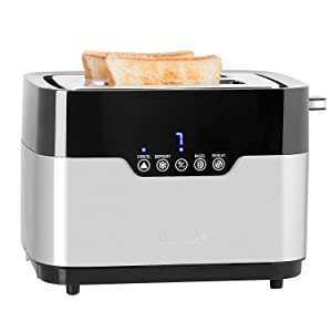 Secura Toaster 2 Slice Stainless Steel Extra Wide Slots for Bagel Bread with Defrost Reheat Auto Shut Off Function Removable Crumb Tray