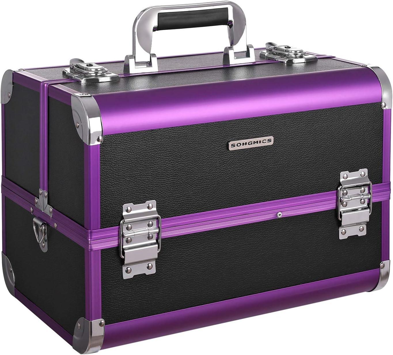 Muster Bl/ätter Beauty Case sehr ger/äumiger Kosmetik Koffer als Geschenk oder perfekt f/ür den Urlaub Gro/ßer Kosmetikkoffer mit Spiegel