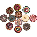 Souarts Mixed Random Shinning Round 2 Holes Wood Wooden Buttons for Sewing Crafting 25mm Pack of 100