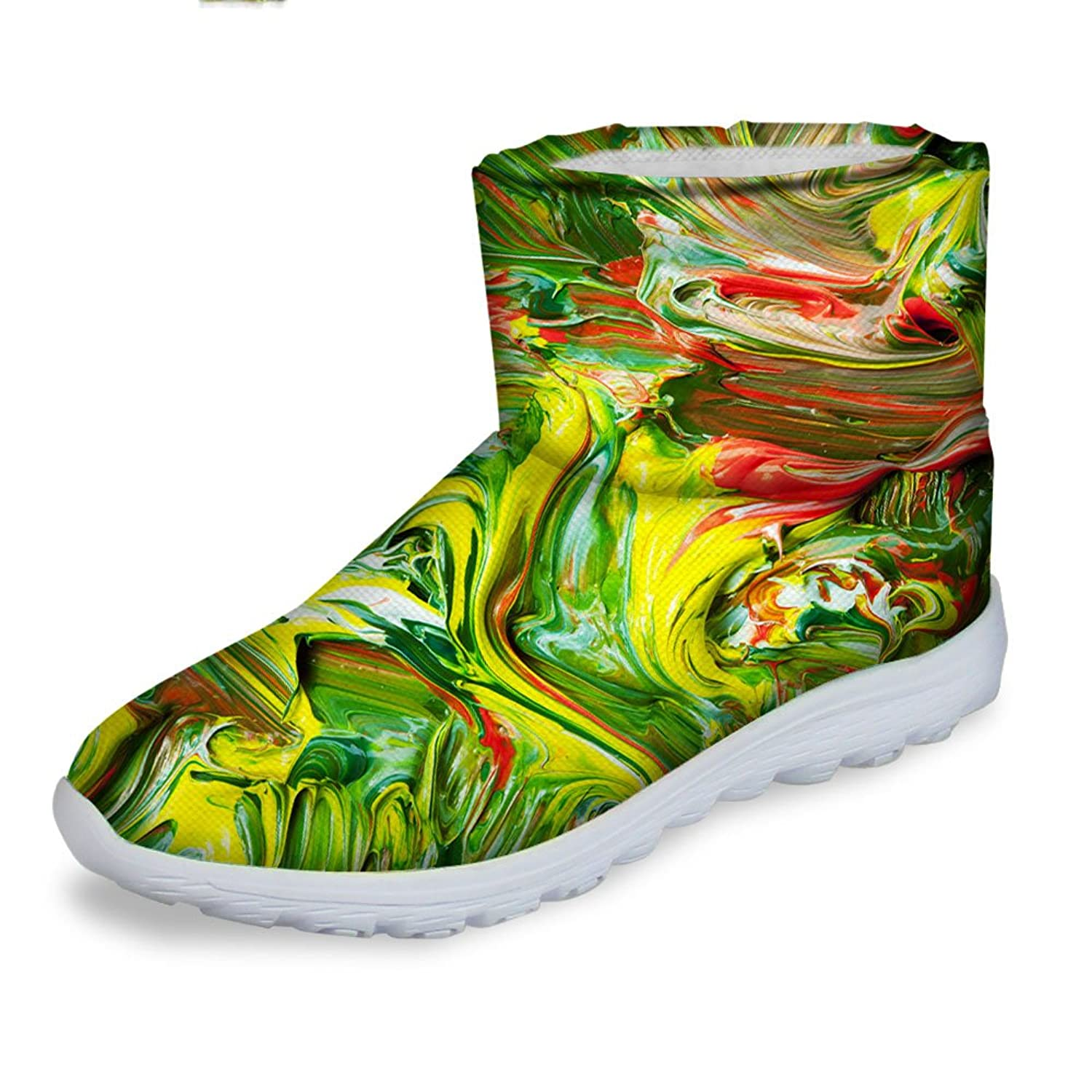 FOR U DESIGNS Green Women's Winter Warm Shoes Comfortable Snow Boots US 8.5 50%OFF