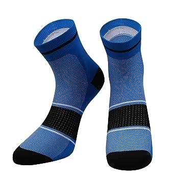 SANTIC Calcetines Ciclismo Hombres Calcetines Antideslizantes Mujer Calcetines Deportivos También para Correr y Montaña Azul L: Amazon.es: Deportes y aire ...