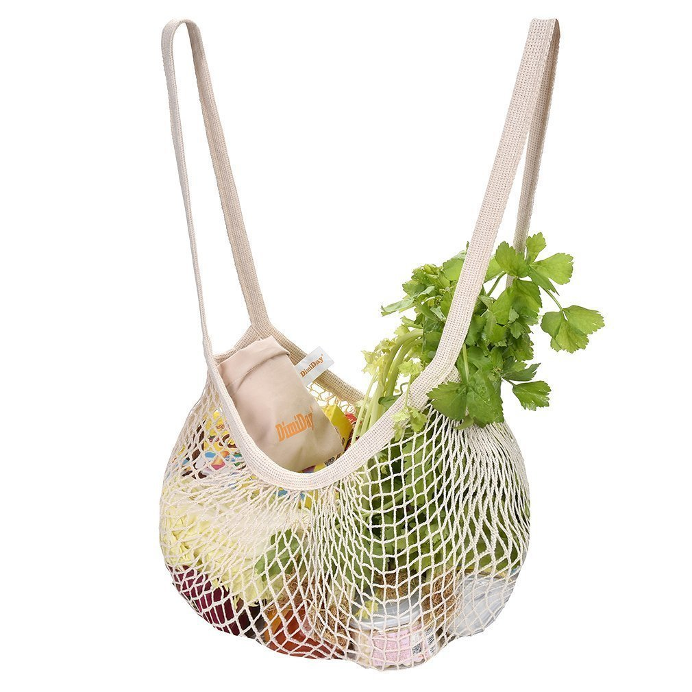 Cotton Net Shopping Tote Ecology Market String Bag Organizer-for Grocery Shopping & Beach, Storage, Fruit, Vegetable DimiDay