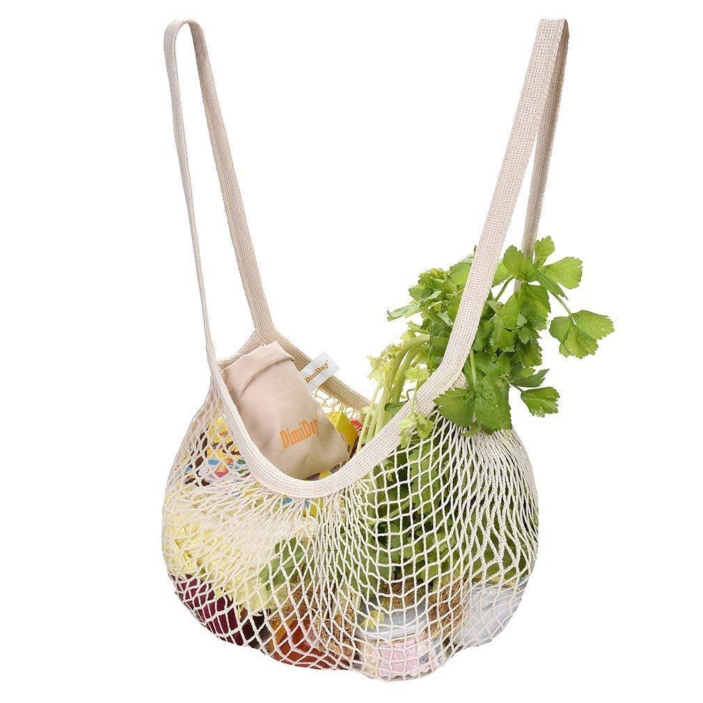 DimiDay Bolsa de la Compra con Red de algodó n, Organizador de Cuerdas para la Compra de Alimentos y Playa, Almacenamiento, Frutas, Verduras