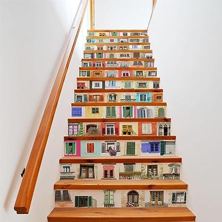 Ventana de simulación 3D Familia Sala de estar Dormitorio Pegatinas de escalera Pegatinas de pared Tamaño (100 * 18cm * 13pcs): Amazon.es: Hogar