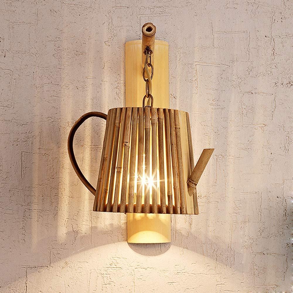 Wandleuchte Wand, Retro nostalgische Lampe Polwandung Teestube Raum Restaurant Gasse Wand Hintergrund kreative Beleuchtung verfügt über E27 Teekanne Bambus Dekoration Lampe