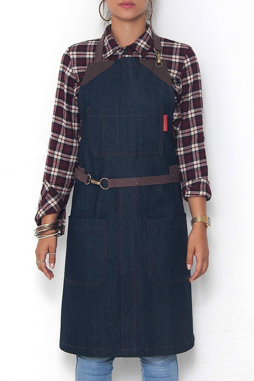 No-Tie Classic Blue Apron - Durable Denim, Leather Reinforcement and Split-Leg - Adjustable for Men and Women - Pro Chef, Barista, Bartender, Baker, Stylist, Tattoo, Artist, Server Aprons