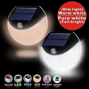 ASSEM Solar Lights, LED Solar Motion Sensor Wall Light Weatherproof Outdoor  Security Light For Garden
