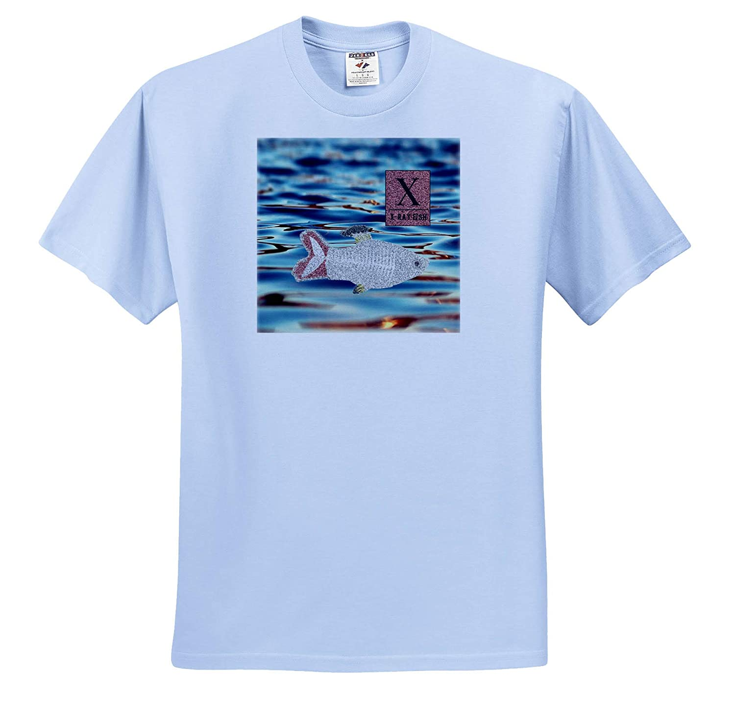 ts/_308961 Adult T-Shirt XL X for X-ray Fish 3dRose Beverly Turner Animal Alphabet Water