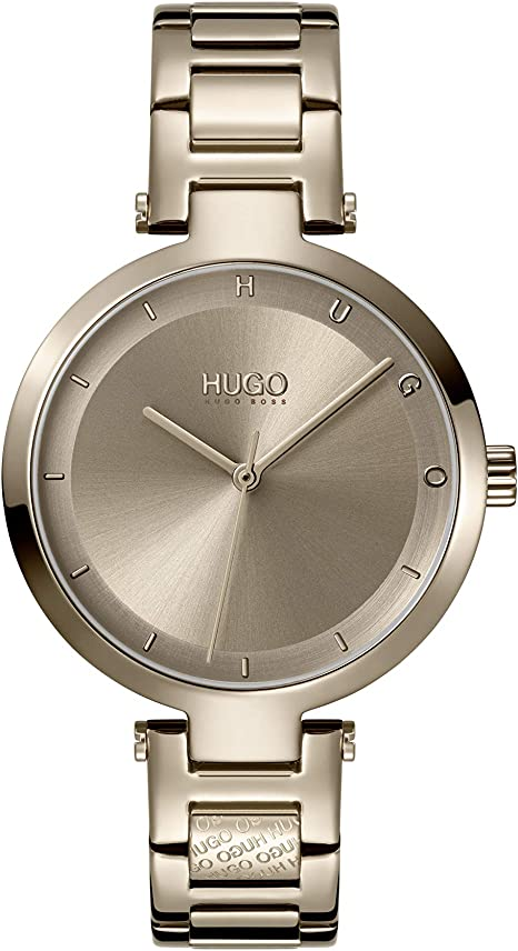 HUGO by Hugo Boss Women's #Hope Stainless Steel Quartz Watch with Beige Gold Ion Plated Strap, 8 (Model: 1540077)