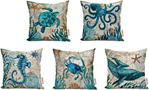 ECONIE Ocean Part Theme Throw Pillow Case (Octopus/Sea Turtle/Dolphin/Crab/Sea Horse) Animal Cotton Linen Suare Pillow Cushion Cover Decorative 18 x18 Inch, Set of 5…