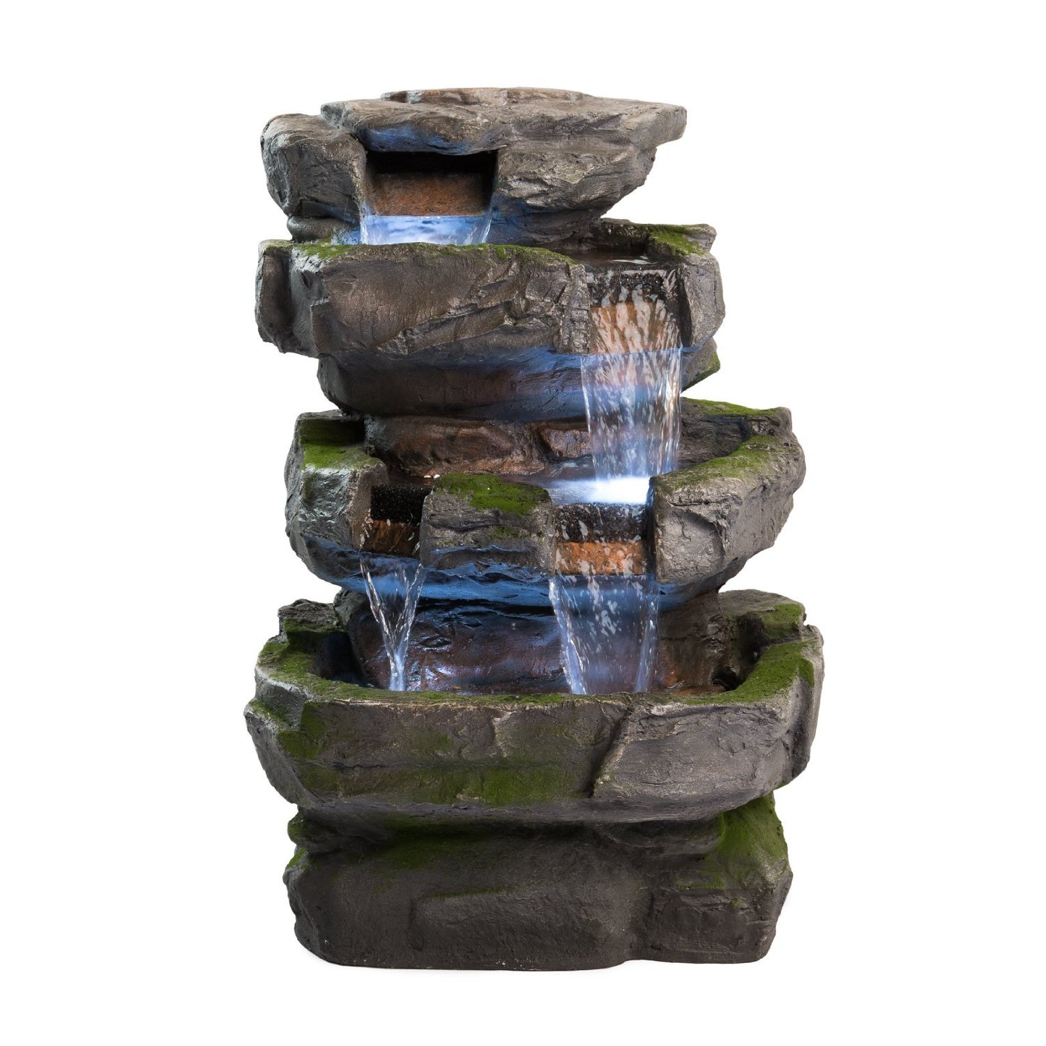 Wilson rock fountain stunning outdoor water feature for gardens patios weath ebay - How to build an outdoor fountain with rocks ...