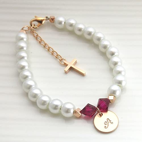 cross etsy rose gold kmbn sideways personalized il baptism fill market bracelet filled baby