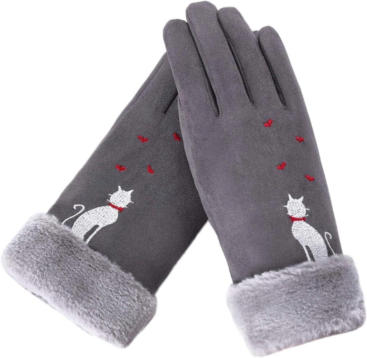 Women Gloves Winter Gloves Embroidery Mittens Full Winter WomenS Hat Finger Gloves,Black,One Size