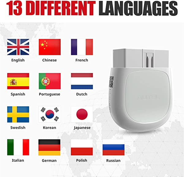 Compared to Autel AP200C, AP220 supports 13 different languages