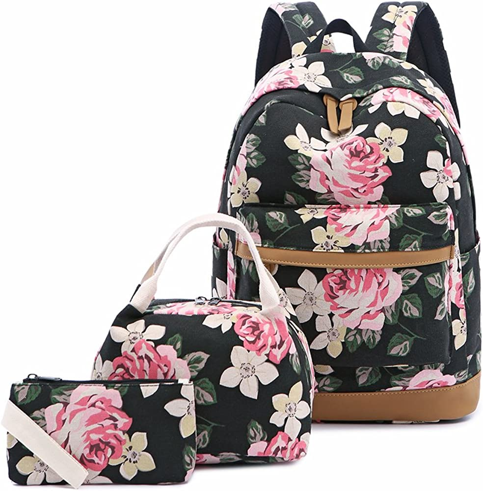 "Lmeison Backpack Set, Canvas Girls Bookbag 14"" Laptop Backpack"