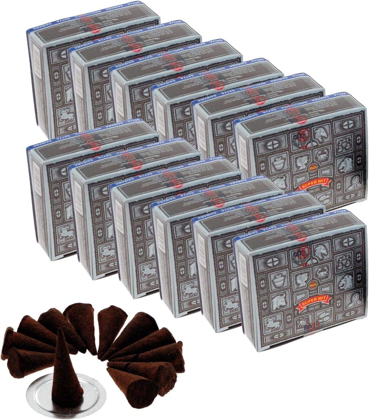 Satya Nag Champa Super Hit Incense Cones, 12 packs of 12