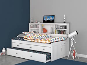 Twin Bookcase Daybed with 3 Drawers & Trundle White