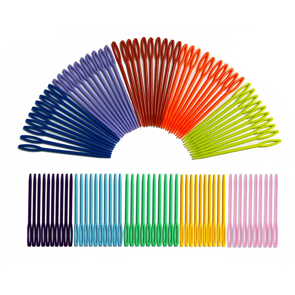 300 Pcs Plastic Sewing Needles 300 iFergoo 150 Pcs 3.5 Colorful Large Eye Crafts Needles and 150 Pcs 2.75Kids Safety Learning Needles for DIY Sewing Handmade Crafts Kid Weave Education