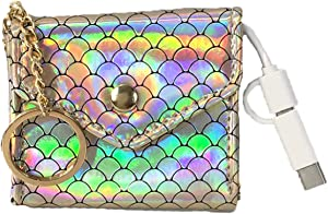 Mermaid Scales Charging Portable Power Bank Key Chain, Gold Iridescent