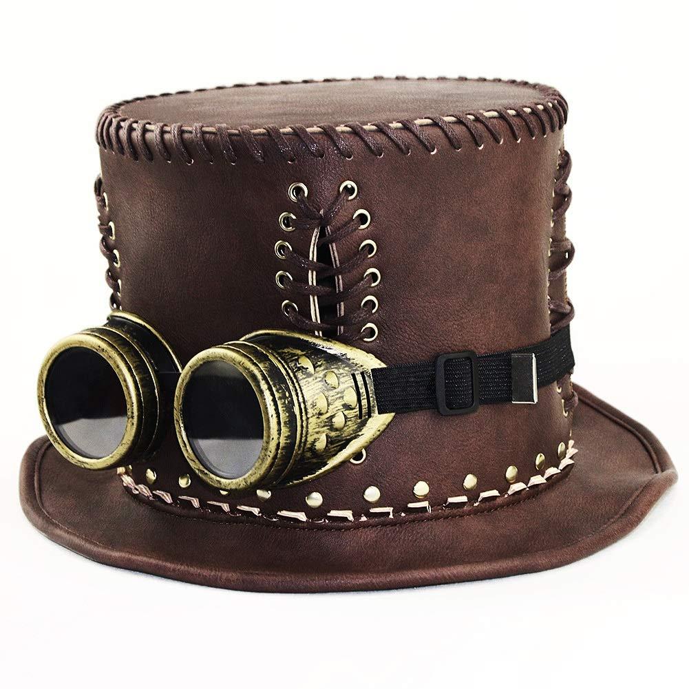 Scotch Painter's Tape Steampunk Top Hat Fascinator, Steampunk Top Hat, Steampunk Gentleman Top Hat, Steampunk Top Hat for Women, Halloween Party Party/Brown (Size : S (54-56) cm)