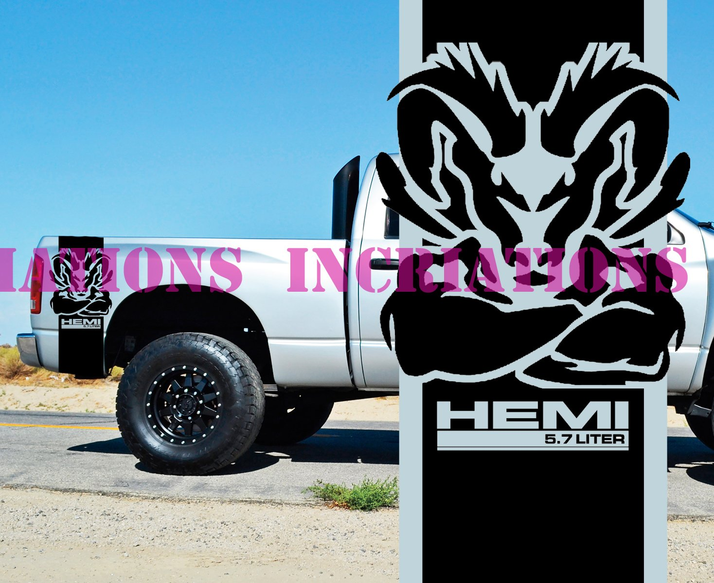 Amazon com hemi power 5 7l dodge ram rear bed stripes truck decals stickers racing set of 2 black home kitchen