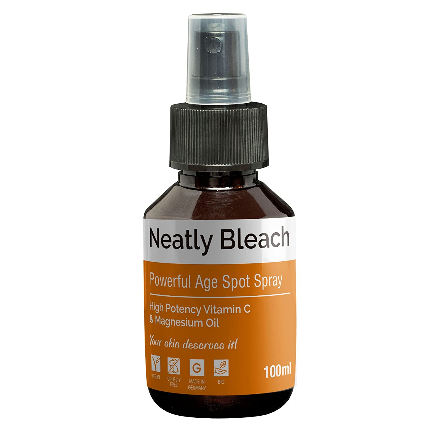 Skin bleach for age spot remover by NEATLY Bleach | 100ml bleach spray | Age spots cream & hyaluronic acid alternative | Vitamin C | skin whitener