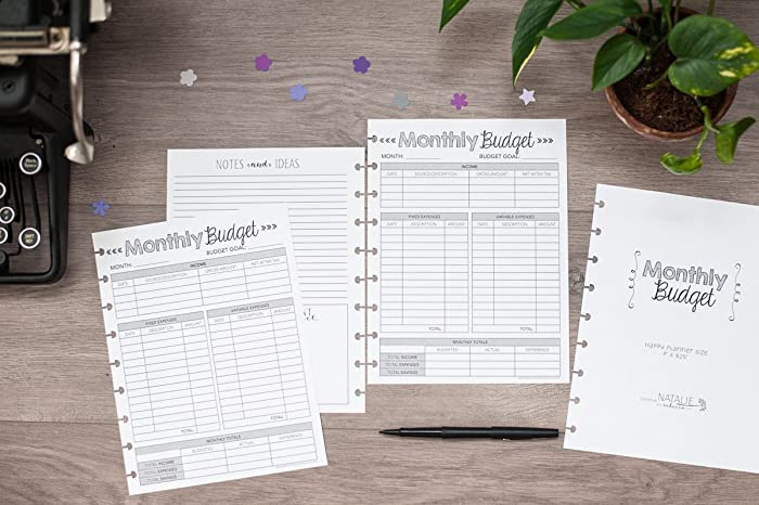 amazon com monthly budget forms for the happy planner 1 year