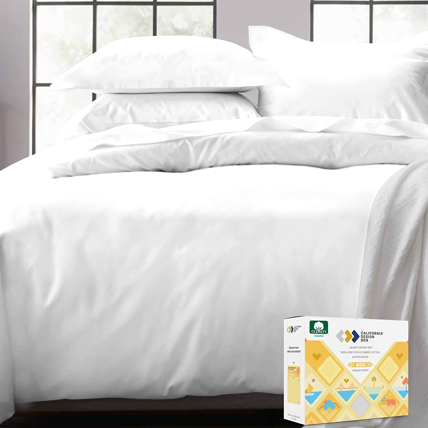 California Design Den 100% Real Cotton Duvet Cover - Premium 400 Thread Count, Comforter Cover, Smooth Sateen Weave, Button Closure and Corner Ties (1 Piece, Pure White, Full/Queen): Home & Kitchen