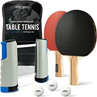 PRO SPIN Portable Ping Pong Set - Includes Retractable Net for Any Table, 2 Ping Pong Paddles, 3-Star Table Tennis Balls, Convenient Storage Case - Play Games Anywhere, Anytime, on Any Table - Even on your Dining Table