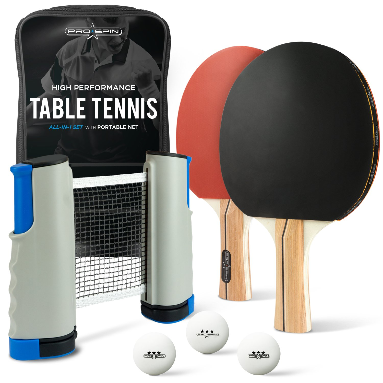 PRO SPIN Portable Ping Pong Set - Includes Retractable Net for Any Table, 2 Performance Paddles/Rackets, 3-Star Balls, Premium Storage Case