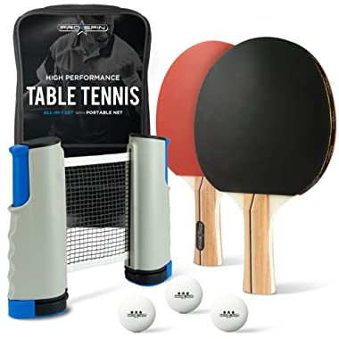 PRO SPIN Portable Ping Pong Set - Includes Ping-Pong Net for Any Table, 2 Paddles/Rackets, 3-Star Balls, Premium Storage Case | High-Performance Table Tennis Set with Retractable Ping Pong Net