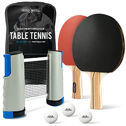 PRO SPIN Portable Ping Pong Set   Includes Retractable Net For Any Table, 2  Paddles