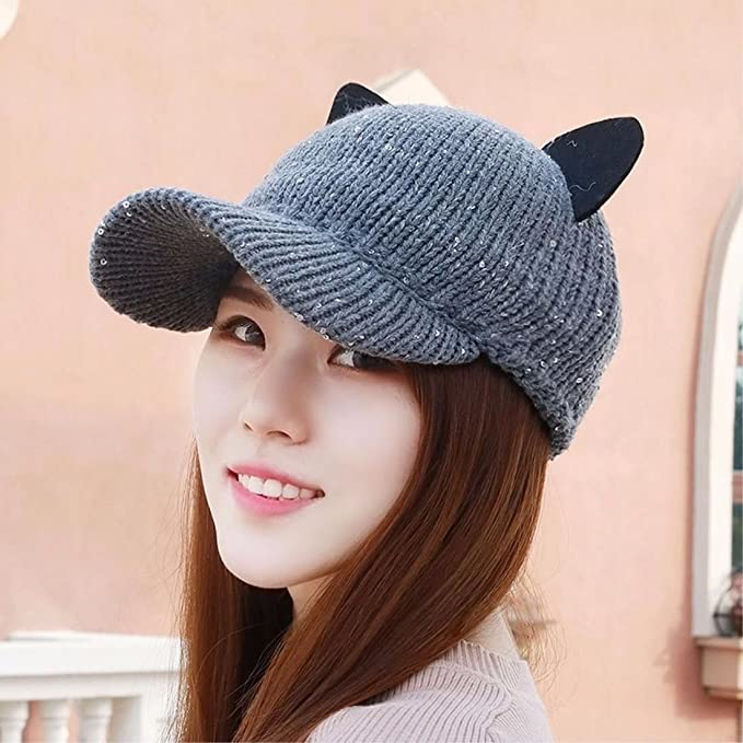 Amazon.com: RangYR Womens Hat Ms Cap Autumn Winter Knit Hat Baseball Cap Cat Ears Cap Elastic Cartoon Cap Warm Black: Sports & Outdoors