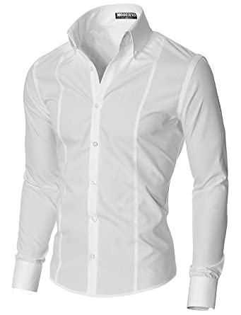MODERNO Slim Fit Dress Shirts for Men Long Sleeve Button Down Collar  (MSSF501) White 4e978772985
