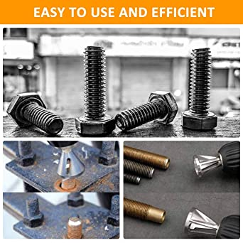 High Speed Steel Black sourcing map Deburring External Chamfer Tool Drill Bit Remove Repair Tool Hex Shank for 8-32 Bolt Thread Size