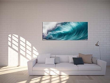 Glasbilder Wandbilder 125 x 50cm Surferwelle Hawaii AG312502394